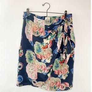 Anthro Silk Floral Cat Print Print Faux Wrap Skirt
